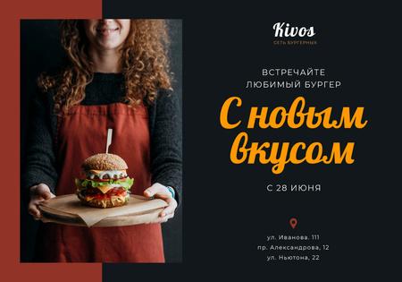 Plantilla de diseño de Special Offer with Woman holding Burger VK Universal Post