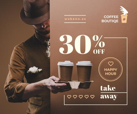 Plantilla de diseño de Man holding Coffee To-go Facebook