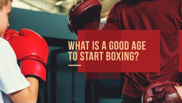 good age for boxing poster with box trainer and child