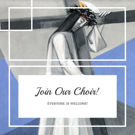 Church Choir Invitation with Christian Cross Instagram ADデザインテンプレート