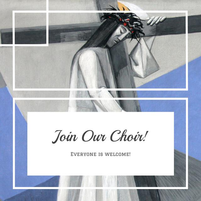 Church Choir Invitation with Christian Cross Instagram ADデザインテンプレート