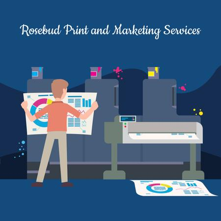 Man printing Reports in print shop Animated Post Modelo de Design