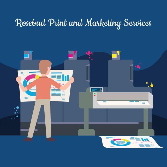Plantilla de diseño de Man printing Reports in print shop Animated Post