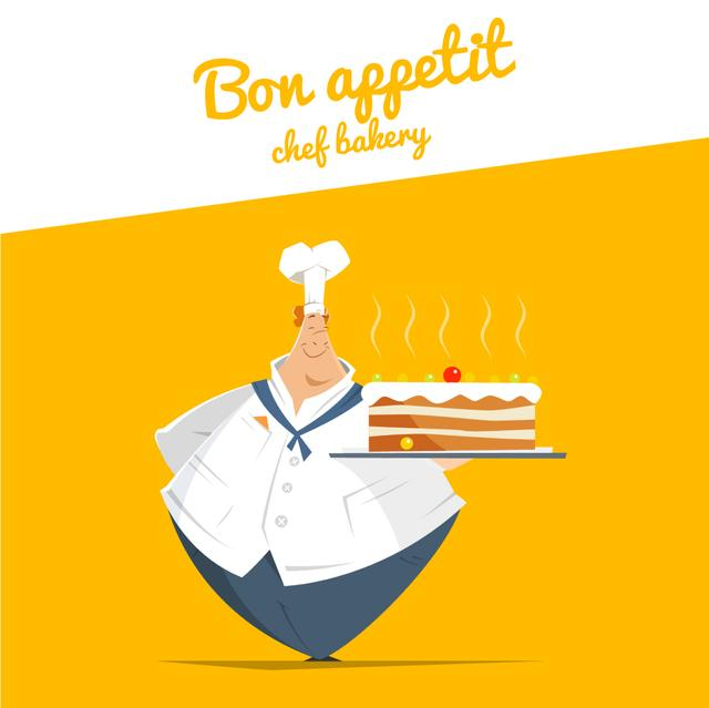 Chef Holding Sweet Cake Animated Post Modelo de Design