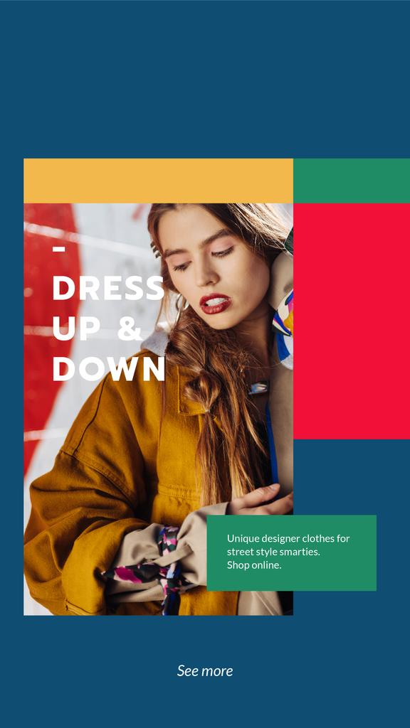 Designer Clothes Store ad with Stylish Woman Instagram Story Modelo de Design