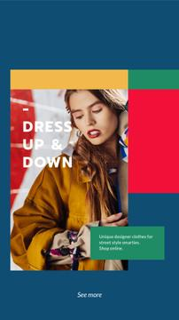 Designer Clothes Store ad with Stylish Woman