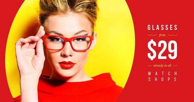 Young attractive woman wearing glasses Facebook AD Modelo de Design