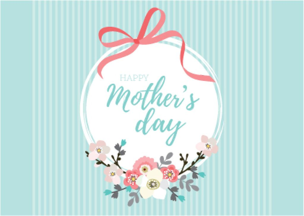 Happy Mother's Day with Flowers and Ribbon — ein Design erstellen