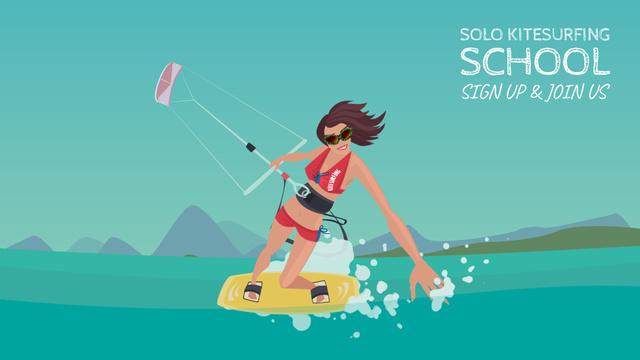 Plantilla de diseño de Woman kite surfing Full HD video