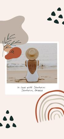 Ontwerpsjabloon van Snapchat Geofilter van Woman at the Beach in Santorini
