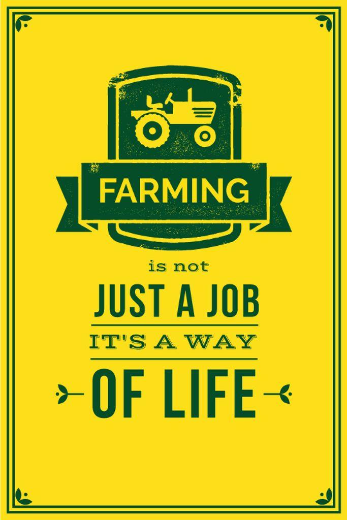 Agricultural Quote Tractor Icon in Yellow — Crea un design
