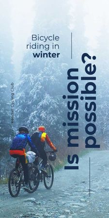 Plantilla de diseño de Bicycle riding in winter Graphic