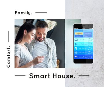 Couple Using Smart Home Application | Medium Rectangle Template