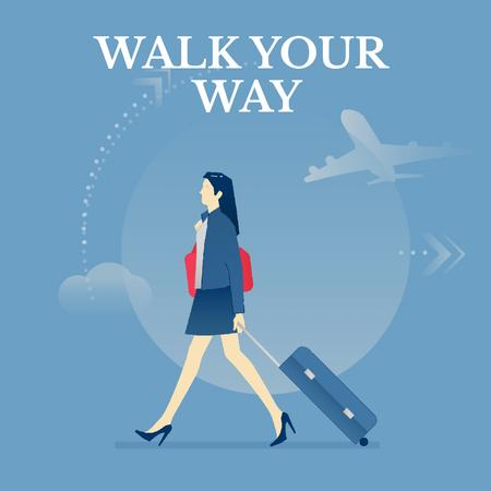 Girl with luggage walking in airport  Animated Post Design Template