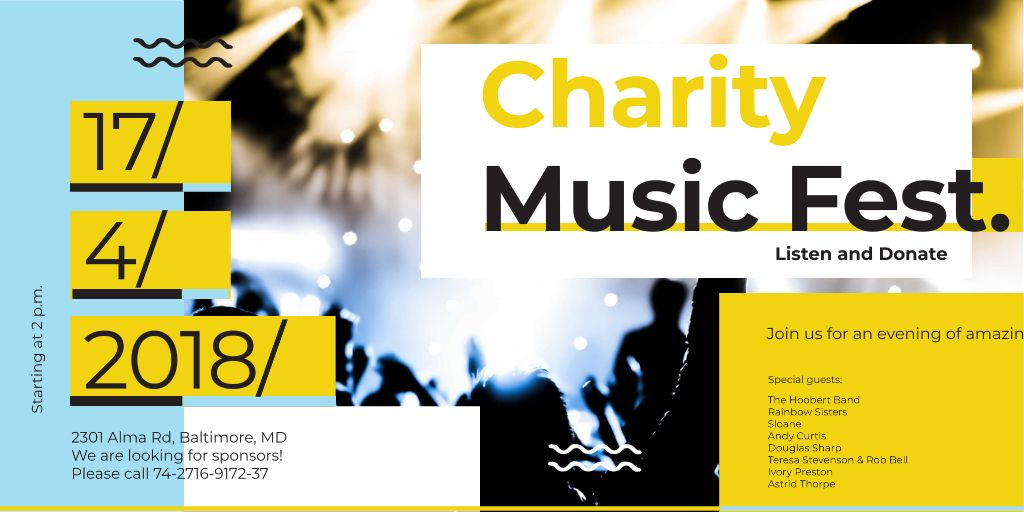 Charity Music Fest Invitation with Crowd at Concert — Maak een ontwerp
