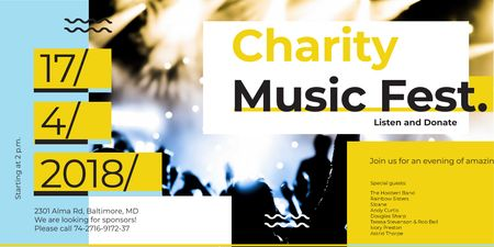 Designvorlage Charity Music Fest Invitation with Crowd at Concert für Twitter