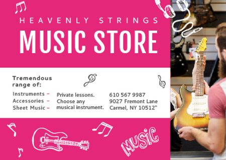 Ontwerpsjabloon van Postcard van Music Store Ad Seller with Guitar