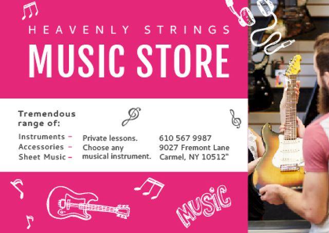 Designvorlage Music Store Ad Seller with Guitar für Postcard