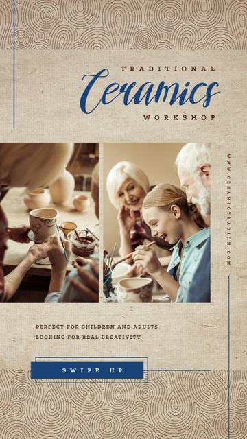 Designvorlage Family working in pottery für Instagram Story