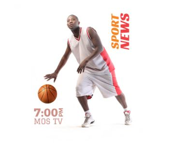Sport News Announcement Basketball Player | Large Rectangle Template