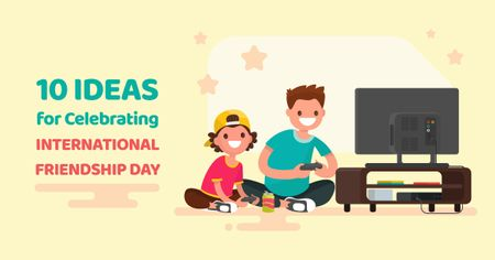 Friends celebrating Friendship Day and playing Video Game Facebook AD Design Template