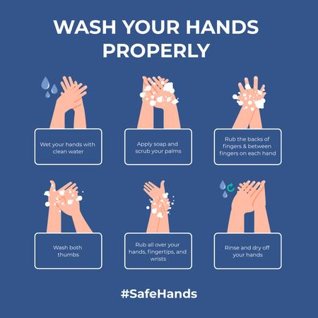 Template di design #SafeHands Coronavirus awareness with Hand Washing rules Instagram
