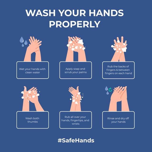 #SafeHands Coronavirus awareness with Hand Washing rules Instagram – шаблон для дизайну