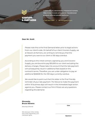 Ontwerpsjabloon van Letterhead van Law Company final Demand