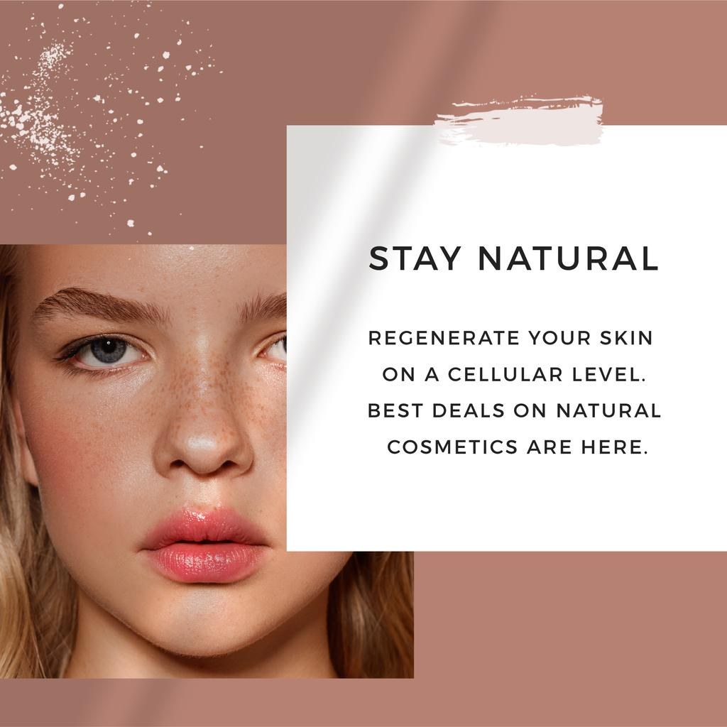 Cosmetics Offer with Girl without makeup — Modelo de projeto
