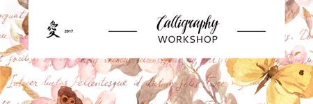 Calligraphy workshop Annoucement Email header – шаблон для дизайна