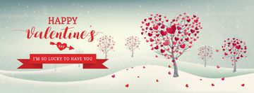 Valentine's Day Greeting Trees with Red Hearts | Facebook Cover Template