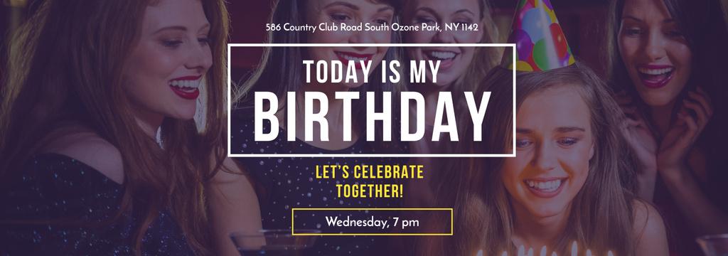 Birthday Invitation Girl blowing Candles on Cake — Créer un visuel