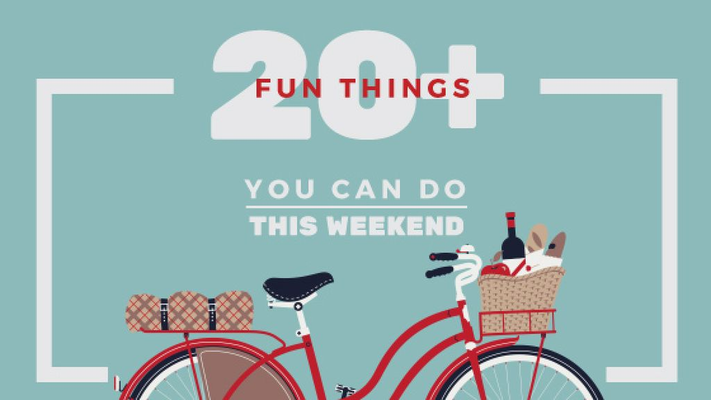 Weekend Ideas Red Bicycle with Food — Создать дизайн