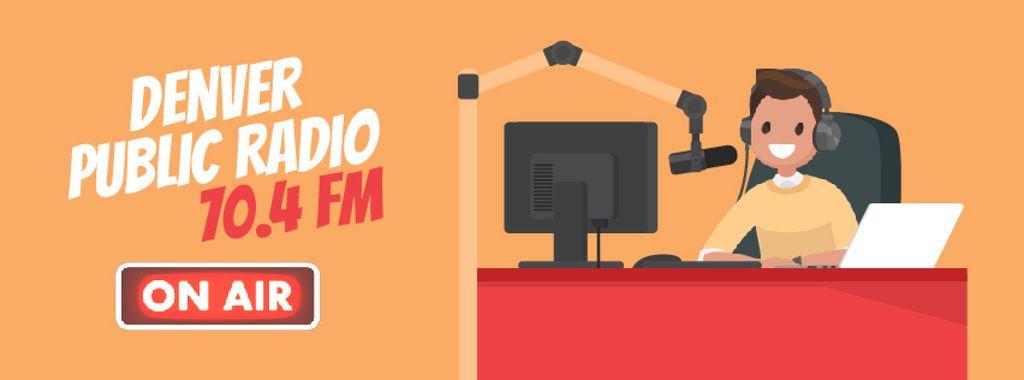 Radio Show Announcement with Presenter | Facebook Video Cover Template — ein Design erstellen