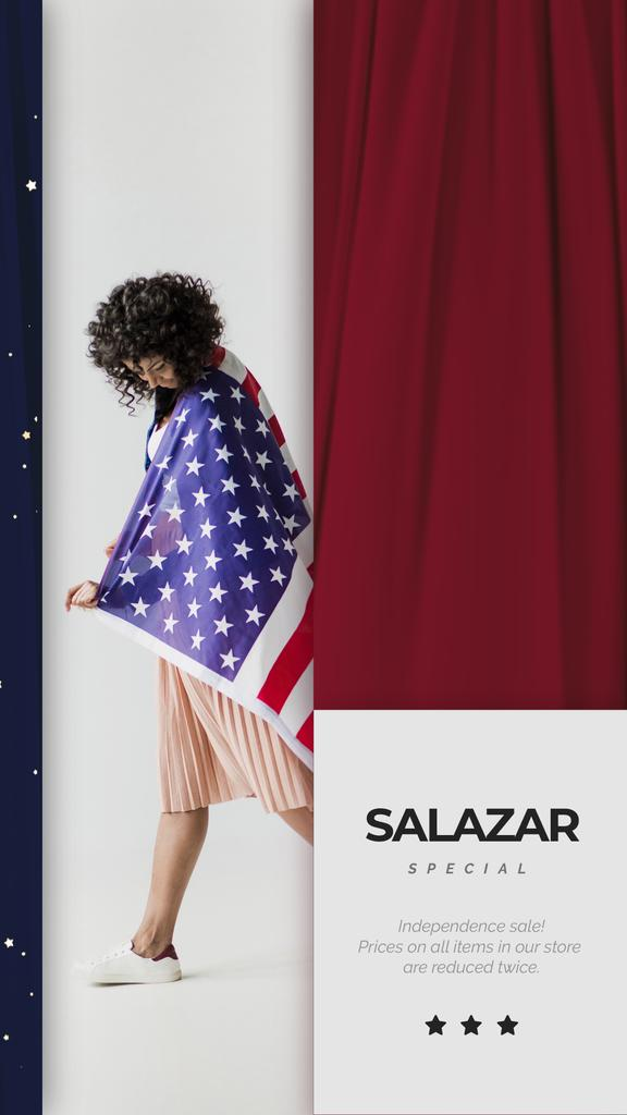 Independence Day Celebration Girl in USA Flag | Vertical Video Template — Crear un diseño