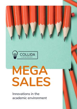 Education Courses Offer Pencils in Row Flayer Design Template