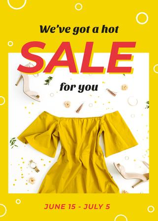 Clothes Sale Stylish Female Outfit in Yellow Flayer Modelo de Design