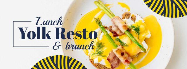 Plantilla de diseño de Eggs Benedict dish with asparagus Facebook cover
