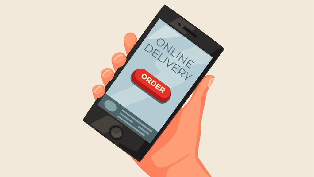 Online delivery order on phone screen — ein Design erstellen
