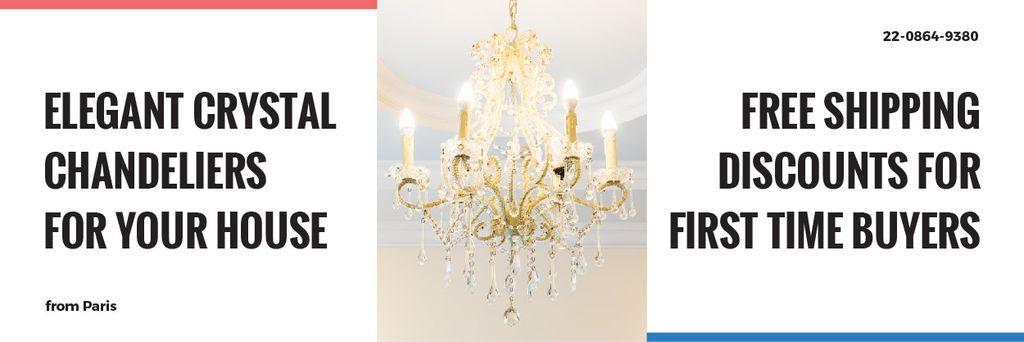 Elegant Crystal Chandelier Ad in White —デザインを作成する