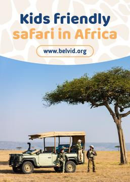 Africa Safari Trip Ad Family in Car | Flyer Template