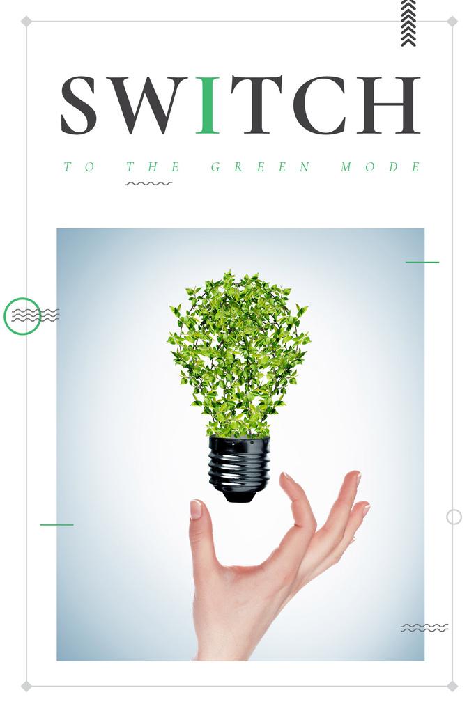 Eco Technologies Concept Light Bulb with Leaves — Modelo de projeto