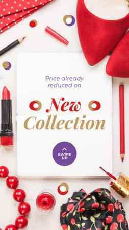 New Collection Offer with Red Accessories Instagram Story – шаблон для дизайна