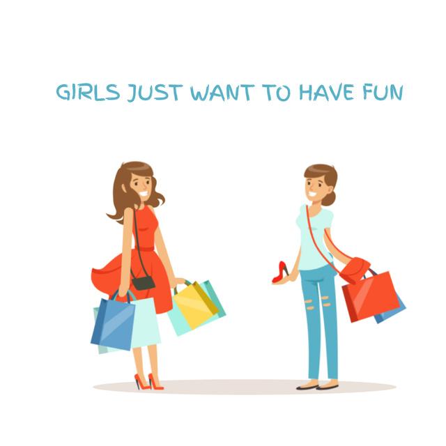 Plantilla de diseño de Cheerful girls with shopping bags Animated Post