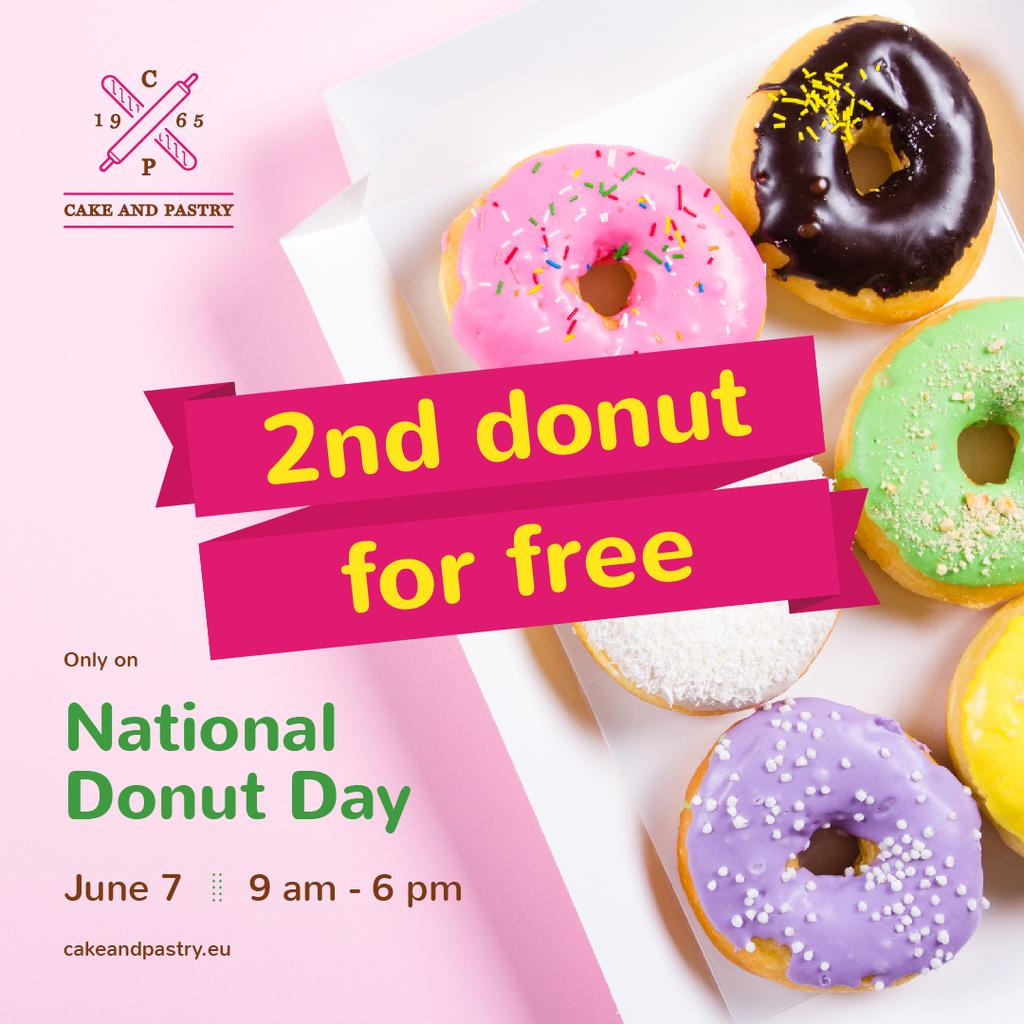 National Donut Day with Delicious glazed donuts — Створити дизайн
