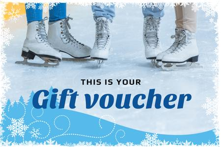 Designvorlage Ice Arena Offer with People Skating für Gift Certificate