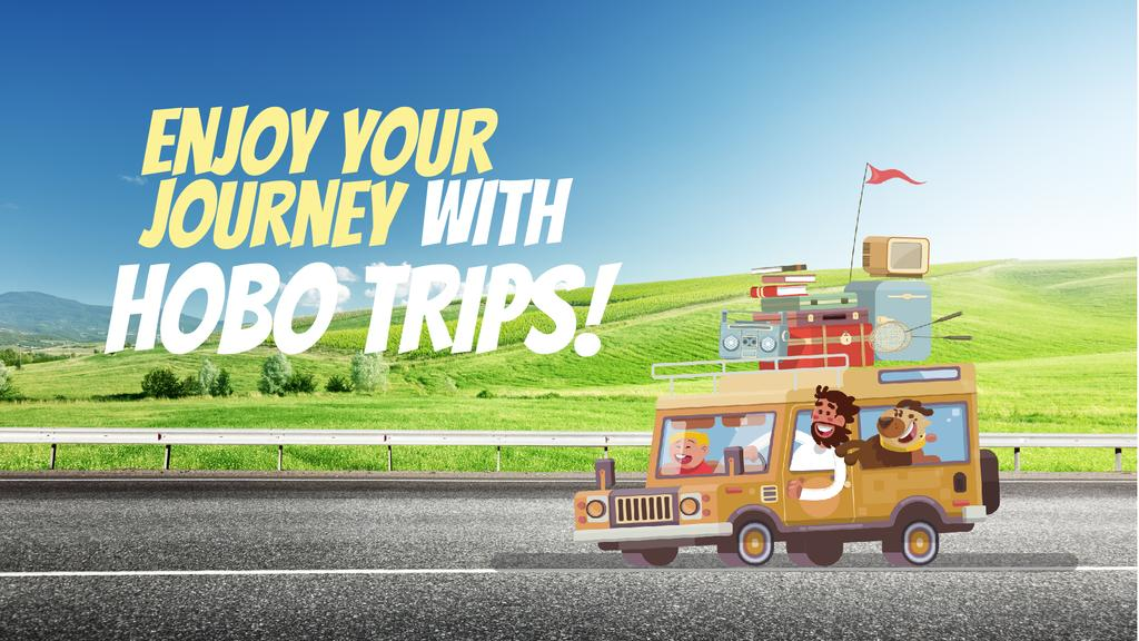 Journey Offer Happy Family Travelling by Car — Maak een ontwerp