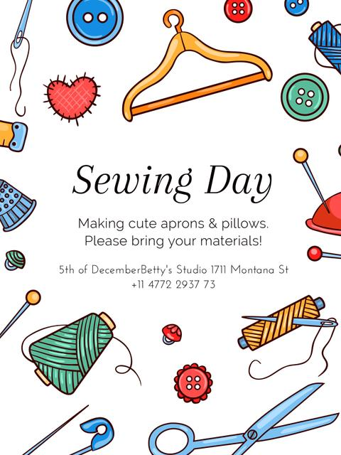 Sewing day event with needlework tools Poster US Design Template