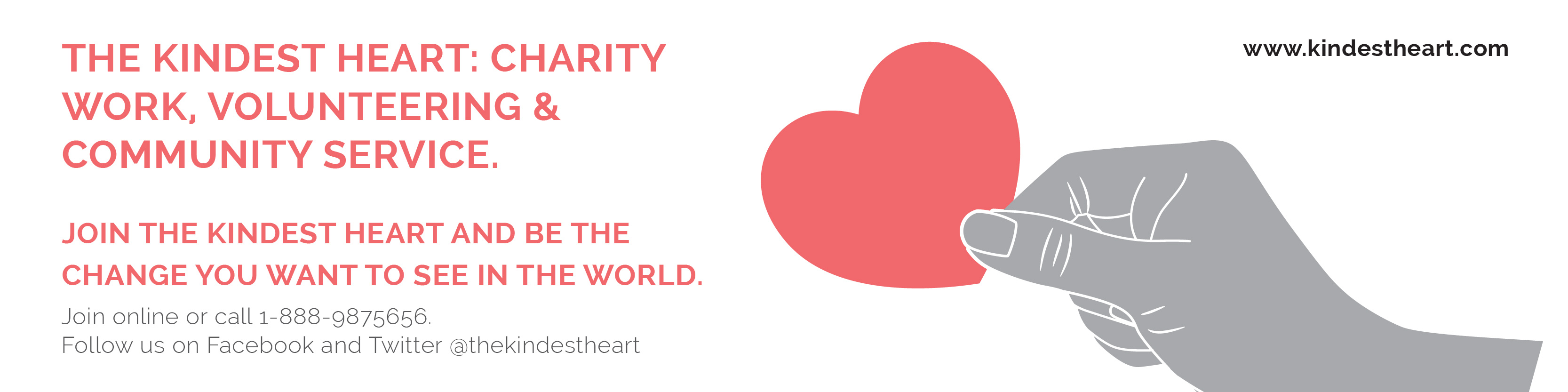 The Kindest Heart Charity Work Twitter Ad Template Design Online