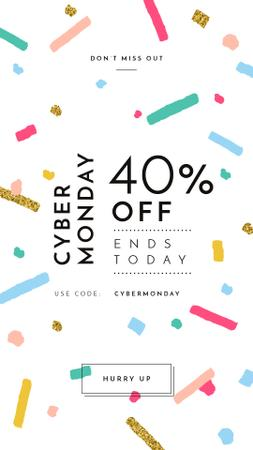 Plantilla de diseño de Cyber Monday Sale Bright and Shiny Confetti Instagram Story
